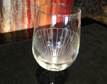Sea Shell Etched Glassware