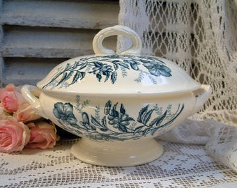 Antique french transferware tureen. Teal transferware. Jasmine. Butterflies. Blue green transferware. Small vegetable tureen. Cottage chic