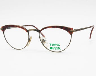 Vintage 80s glasses frame THINK PINK acetate insert brows, aged colors // Deadstock eyewear made in Italy