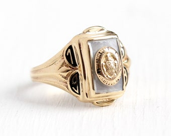 Vintage Class Ring - 10k Rosy Yellow Gold William Penn High School Signet - Retro Size 5 1/4 Mother Of Pearl Harrisburg PA 1959 Fine Jewelry