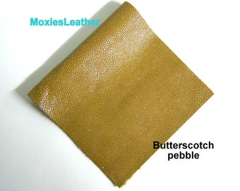 Butterscotch tan pebble printed leather - leather for crafts - moxiesleather - moxies leather