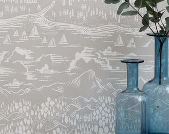 Province Wallpaper in Natural Grey - 10m x 52cm roll