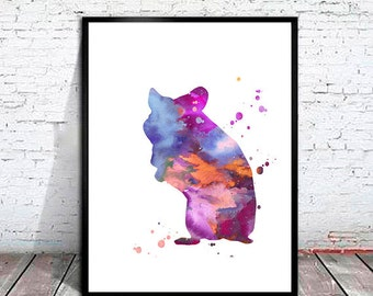 Hamster Watercolor Print, Hamster art, painting, animal watercolor, watercolor painting, animal art, animal watercolor,watercolor print