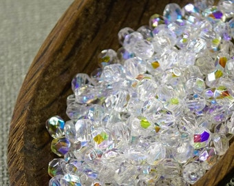 Small Czech Fire Polished Crystal Clear Beads 4mm (50) Polish Faceted Transparent AB 4mm Czech beads last