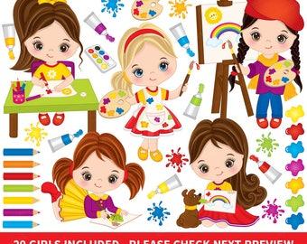 Artist Clipart - Vector Artist Clipart, Girl Clipart, Artist Girls Clipart, Little Girl Clipart, Painter Clipart, Little Artist Clip Art