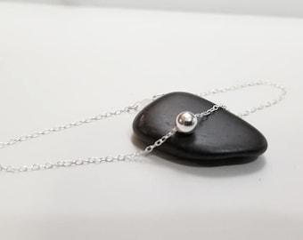 Tiny Dot Sterling Silver Bead Bracelet- Dainty Silver Bead, Single Bead, Minimalist Ankle/Bracelet, Floating Bracelet