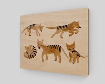 Thylacine Tasmanian Tiger Watercolor Wood Print Decor