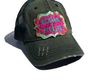 Rodan and Fields hat - Distressed Trucker- Pigment dyed - Rodan + Fields- raggy patch cap- hat