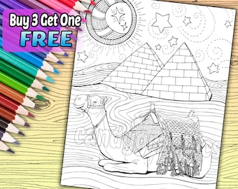 Desert Camel - Adult Coloring Book Page - Printable Instant Download