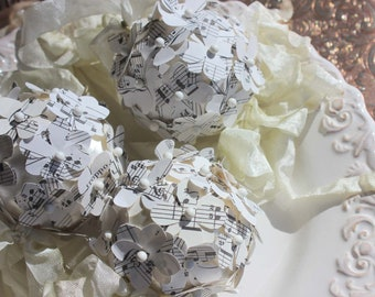 Musical Kissing Balls - Kissing Balls - Vintage Sheet Music Paper Flower Balls - Set of Three (3) - Handmade by Suzanne MacCrone Rogers