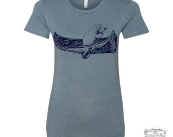 Womens MANATEE (in a Canoe) T Shirt -hand screen printed s m l xl xxl (+ Colors Available) custom