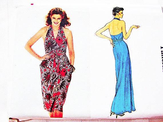 80s Halter Dress Pattern Vogue Pattern Backless Wrap Dress V