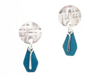 Sterling Silver Stud Earrings with Teal Anodized Aluminum - Fold and Curve Collection by Mandy Allen, Metal Arts