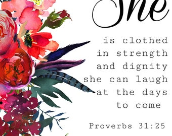 Christian Scripture Bible Verse Wall Art Floral Print Nursery Home Decor Printable