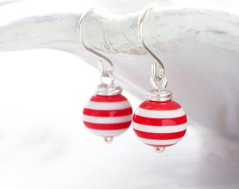 Red and white striped earrings   Retro sailor earrings   Sterling silver wirewrapped earrings   Lightweight vintage style pinup earrings
