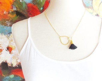 Eternity Circle Tassel Necklace - Interlocking Circle Charm Necklace - Satin Tassel Necklace - Black Tassel - Gold Circle Tassel Necklace