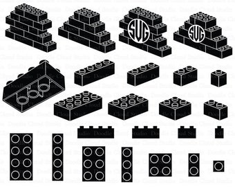Lego SVG, Building Blocks SVG, Lego Bricks svg, Lego Monogram svg files for Silhouette Cameo and Cricut. Lego clipart PNG included