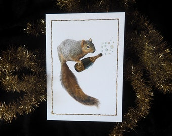 Squirrel with Bubbly Champagne Glitter Card, Congratulations Card, Squirrel Party Glitter Card