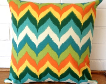 Multicolour Chevron Zig Zag Orange, Teal, Green, White and Yellow Outdoor Cushion Cover