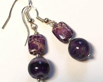 Serpentine Purple Jasper Drop Earrings