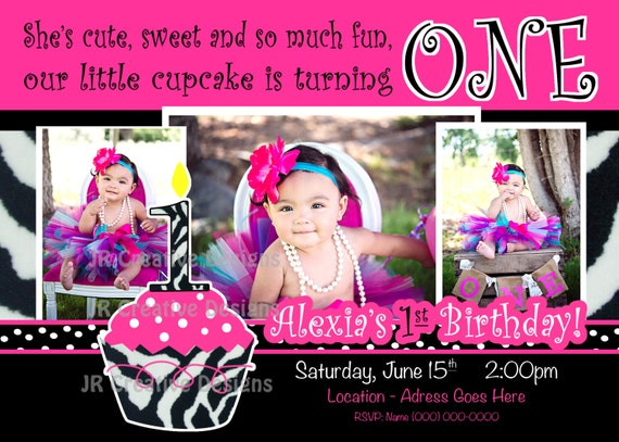 Cupcake Invitation Cupcake invite Hot Pink Black White Leopard
