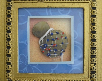 "5""x5"" framed 3-D hand painted shekere, axatse shaker instrument miniature collage painting"