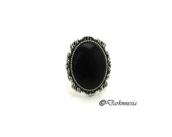 Ring, cabochon, black, adjustable, goth, gothic, victorian