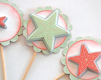 Mint and Red Stars - Cupcake Toppers