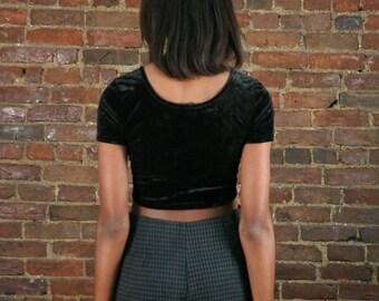 90s Skort Romper Shorts Soft Grunge Pastel Goth 1990s Aesthetic Black & Gray Houndstooth Deadstock Mini Skirt Medium