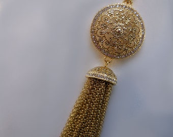 Gold Swarovski Crystal Tassel Necklace