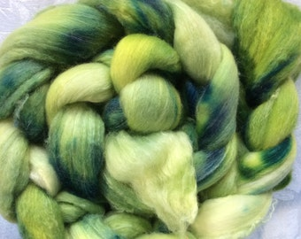 Hand dyed roving, Polwarth Wool and Silk from Hearthside Fibers, colorway Orchard Grass, A dream to spin