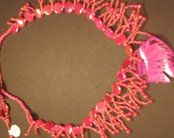 Bead Woven Seashell Fish, Mother of Pearl, Coral Design Necklace