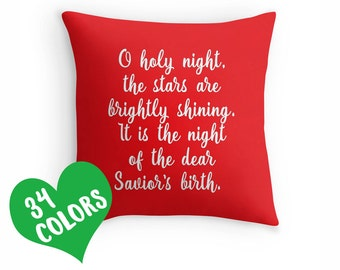O Holy Night Pillow, Christmas Pillow, Merry Christmas Pillow, Christmas Quote, Holiday Pillow, Christmas Pillow, Winter Pillow, Xmas Decor