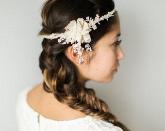 Ivory Flower- Ivory Lace- Bridal Headband- Romantic Headband- Wedding Headpiece- Bohemian bridal- Hair Accessory- Flower Crown- Boho Bride