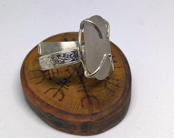 Sterling Silver Viking D-Ring with Sea Glass