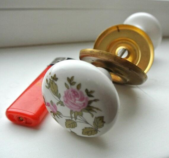 Vintage Ceramic Door Knobs Set Vintage Porcelain Door Handles Pulls ...