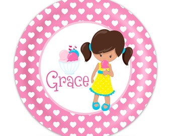 Personalized Ice Cream Plate - Pink Girl Dinner Plate, Hearts Ice Cream Melamine Plate, You Pick Girl - Kids Personalized Gift under 25