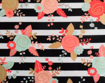 Cotton Crib and Mini crib sheets including Nuna Sena Lotus Arms Reach Bloom baby etc; floral gold metallic peach coral mint