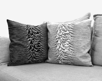 "unknown pleasures - set of 2 - 18"" velveteen pillow cases - joy division"