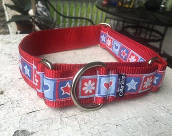 """Tilly's Hearts & Stars - 1.5"""" Martingale Collar"""