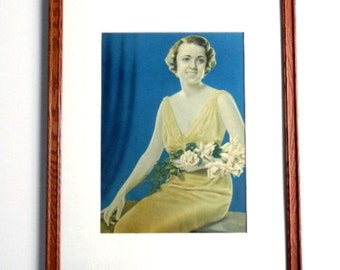 """Vintage Framed Art Deco Color Photograph Portrait Picture - Hollywood Starlet - Ziegfeld Girl - 21"""" High - 1936"""