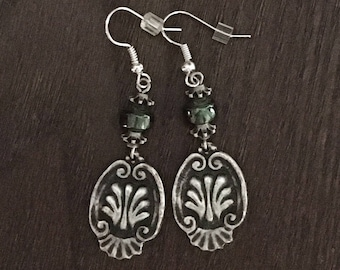 Silver Stamped Design and Green Beaded Dangle Drop Earrings