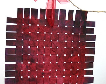 2 Sided Paper Weaving- 10x10- Original Acrylic Art- Woven- Paper Art- Two Sided- Art Mobile- Hang or Frame