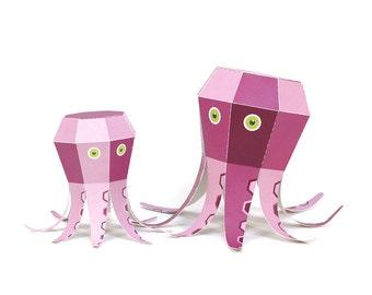 Maxi Octopus Paper Toys - DIY Paper Craft Kit - 3D Paper Animals - Kids Octopus - 3D Model Paper Figure