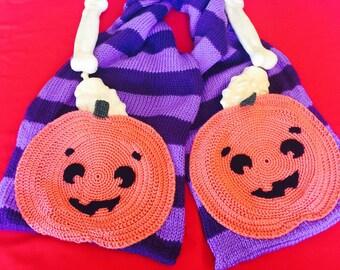 Purple Striped Scarf with Pumpkin Pockets