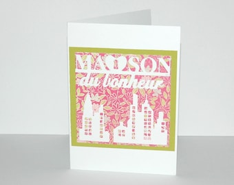 """Message """"Happy home"""" - pattern delicately cut card"""