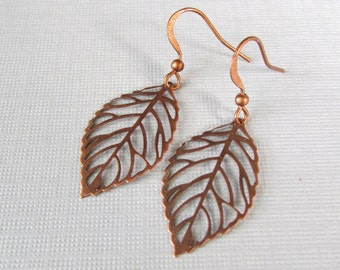 copper leaf earrings bridal jewelry  drop long dangle bridesmaid earrings