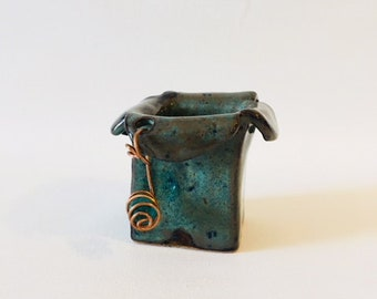 Blue Stoneware Artisan Vase