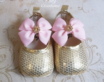 Gold Sequin Shoes - Gold Sparkle Shoes - 1st Birthday Girl Outfit - Gold Sequin Shorts - Pink and Gold Tutu - Pink and Gold Birthday