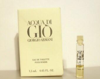 Vintage 1990s Acqua di Gio by Giorgio Armani 0.05 oz Eau de Toilette Sample in Box MEN'S COLOGNE
